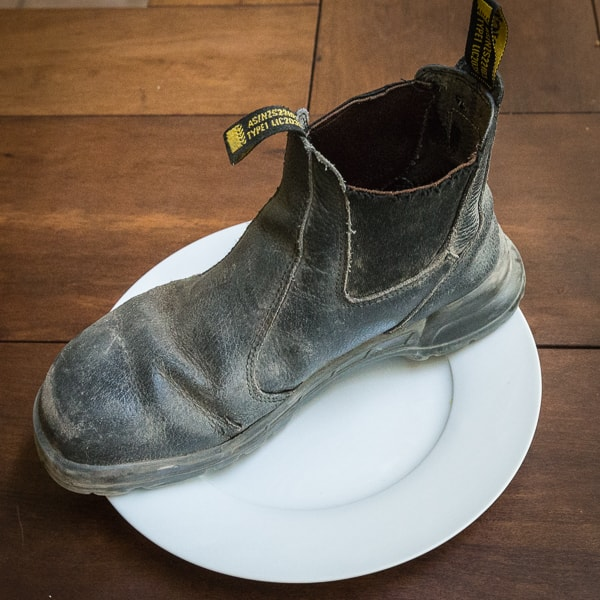Leather boot on a plate