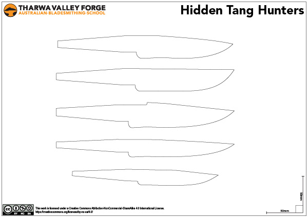 Hidden-tang outdoor hunting knives template